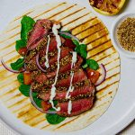 beef dukkah wrap - cooking at home is fun