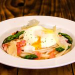 poached egg linguini - cooking at home is fun